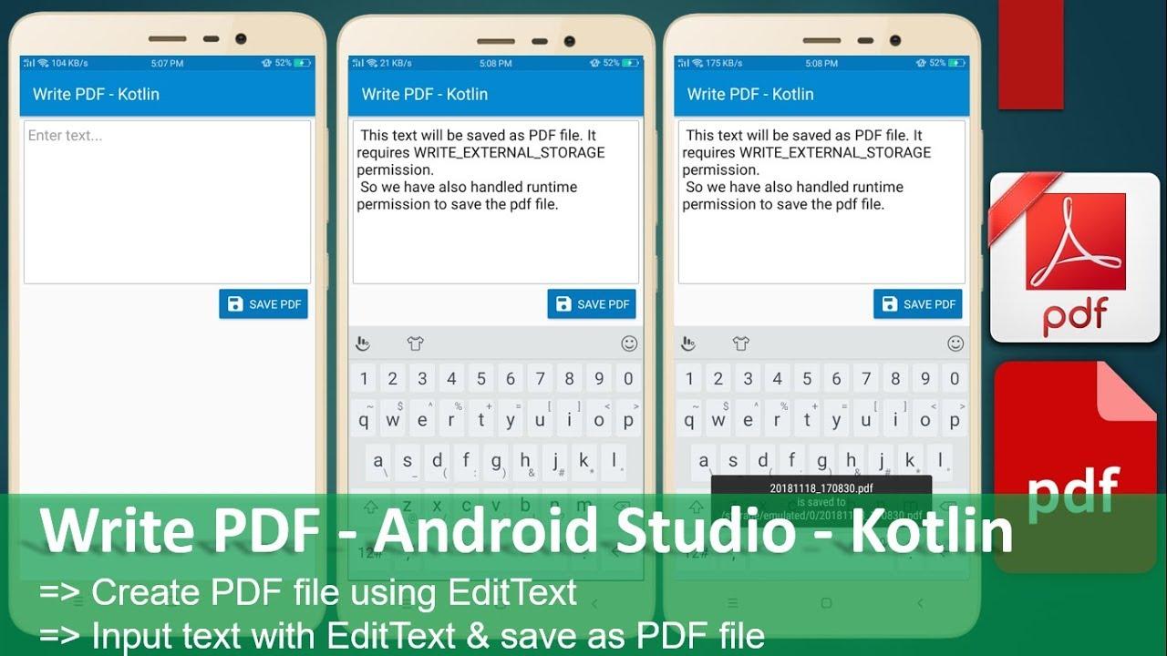Write PDF - Android Studio - Kotlin