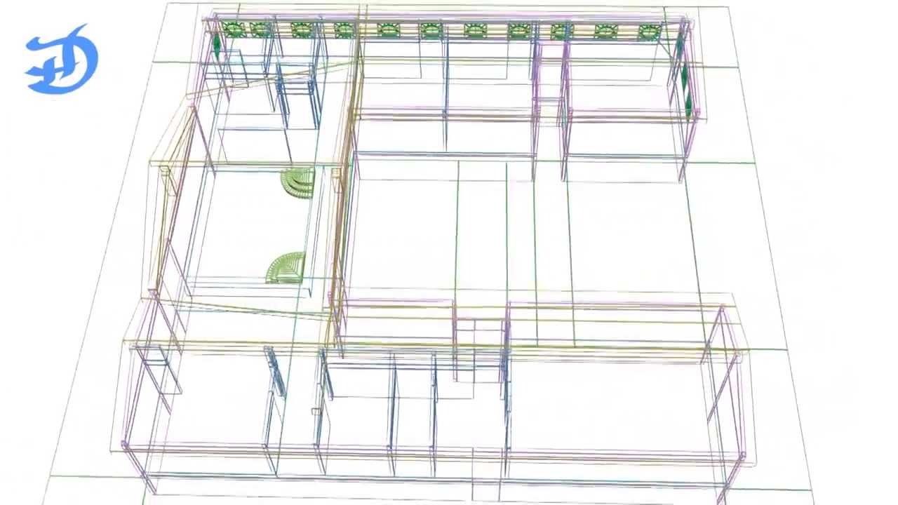 house  wireframe d model, house wiring