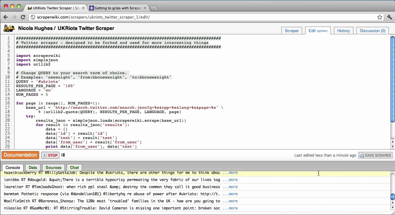 ScraperWiki Tutorial Screencast for Non-Programmers