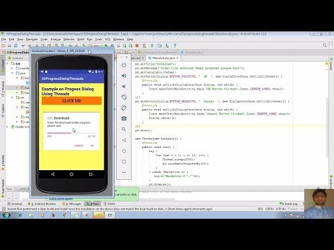 35 Android by Mr. Bhosale | Progress Dialog Box Using Threads with Positive & Negative Button