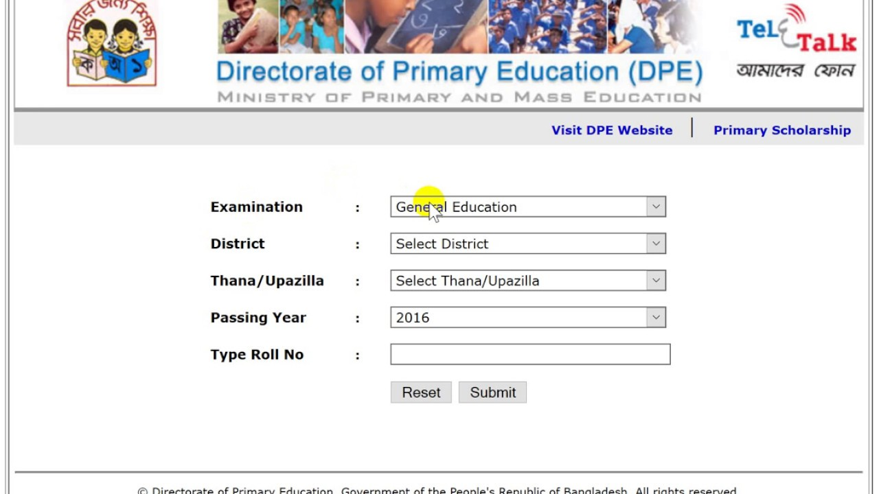 PSC Result 2018 With Full Marksheet | dperesult teletalk com bd