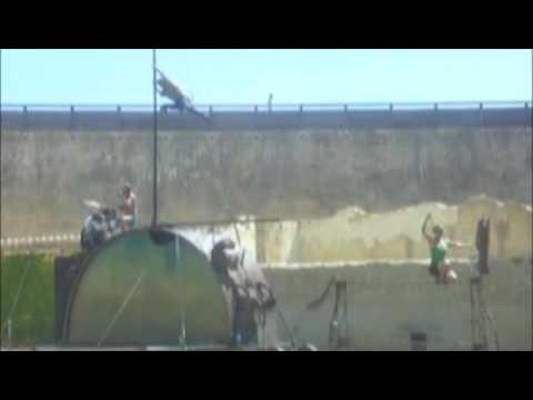 Acrobats in Blandy, Brie region, France.