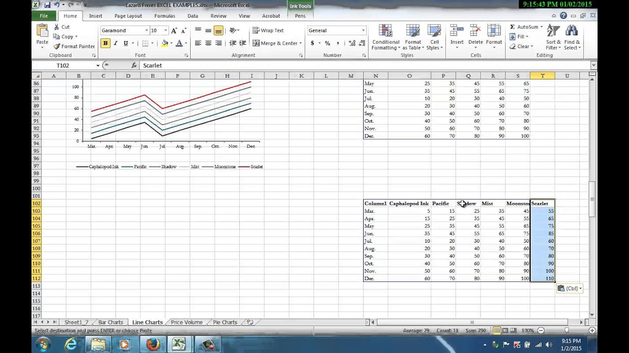 Excel Line Charts Hidden Sheets