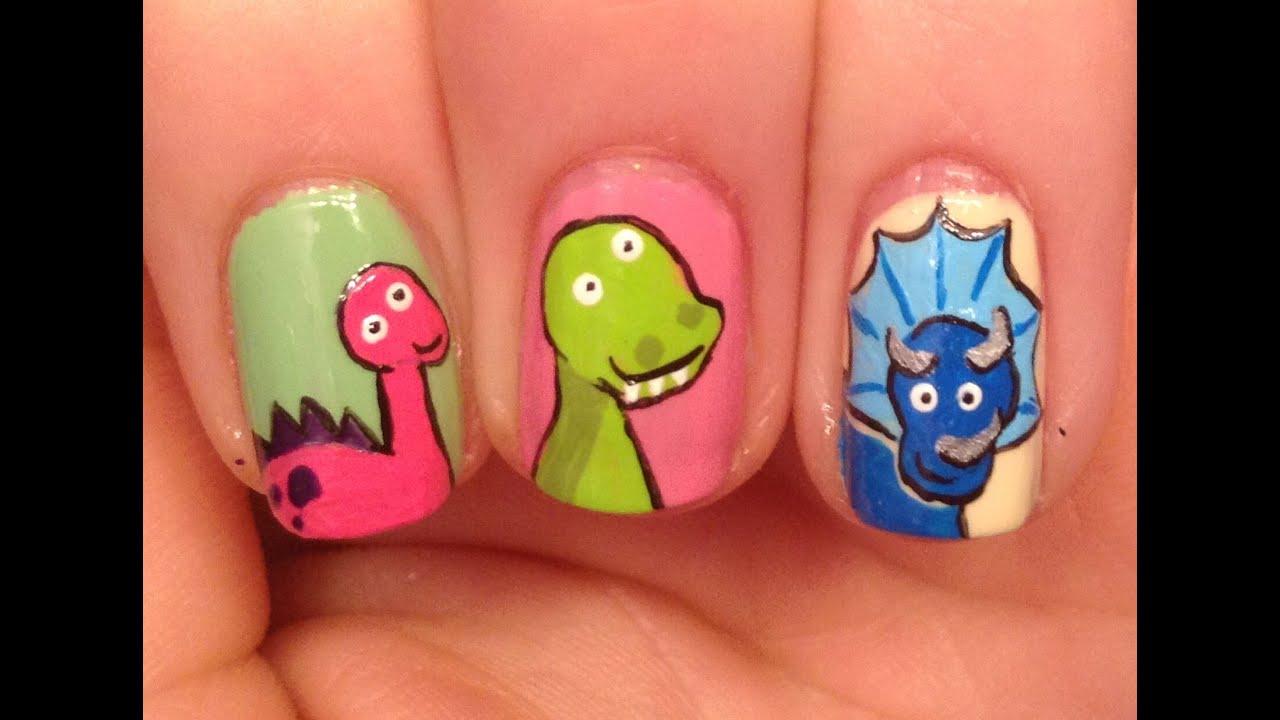 cute dinosaurs nail art tutorial