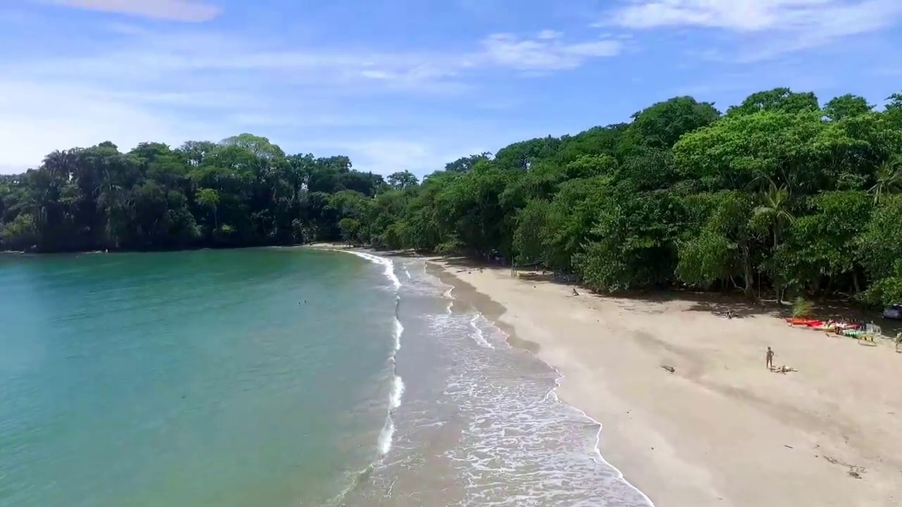 Drone Flying Over Punta Uva Beach Puerto Viejo Costa Rica