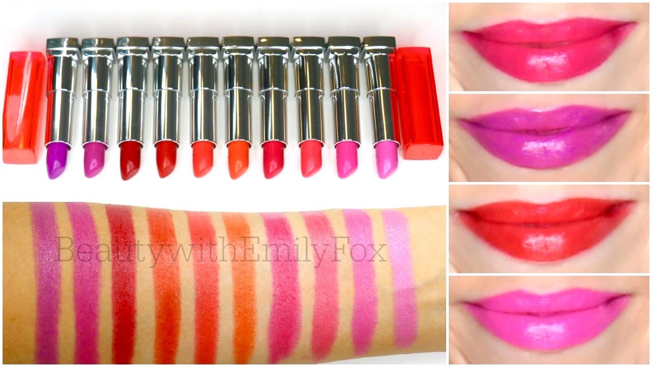 Maybelline Vivid Lipstick Lip Swatches Youtube Color Sensational Matte