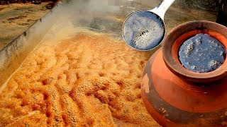 Amazing Food Processing of Date Palm Jaggery in Village | Traditional way Making Jaggery