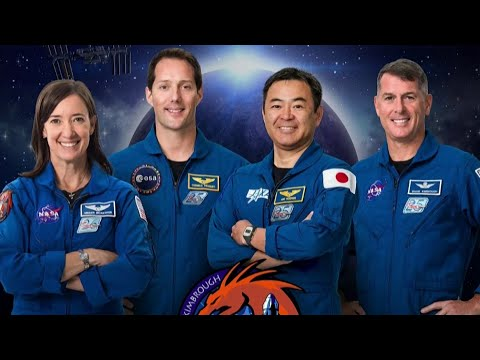 International astronaut crew arriving at Kennedy Space Center ahead of liftoff