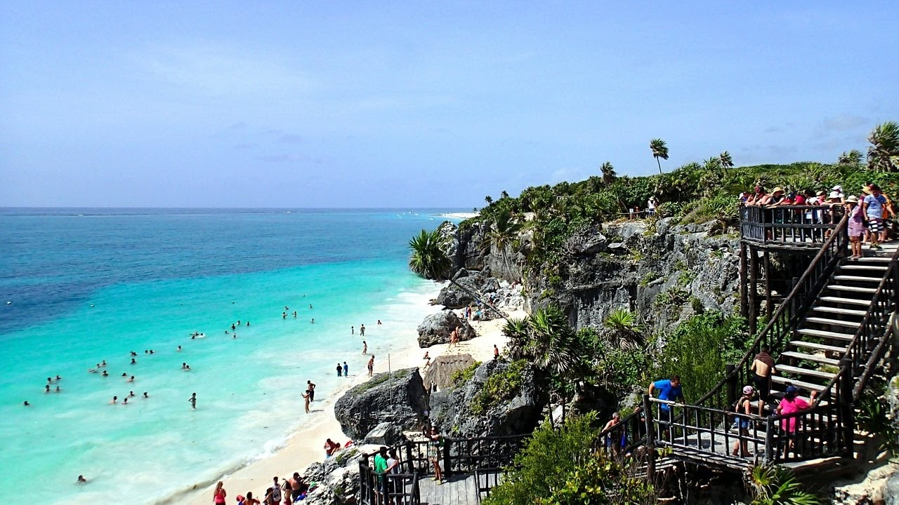 Beautiful Tulum Beach And Ancient Mayan Temple Ruins Mexico