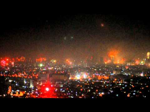 Whole view, new year fireworks Jakarta , Indonesia, 2011