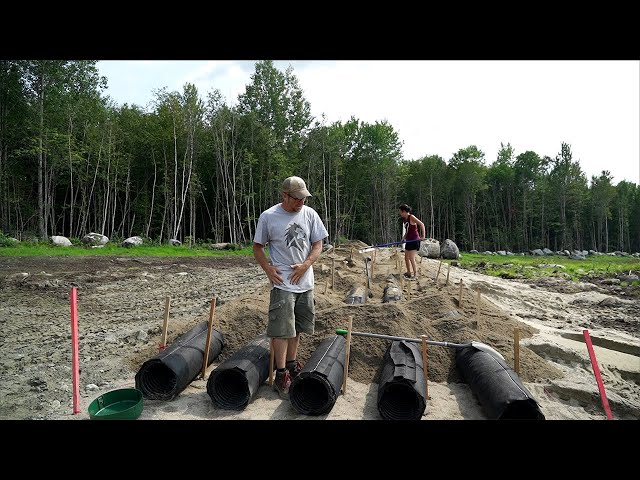 INSTALLING a Septic Leach Field with NO EXPERIENCE | Building Our OFF-GRID Tiny House in the WOODS