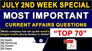 Weekly Current Affairs | July 2018 2nd Week Current Affairs | July 2018 Current Affairs in English