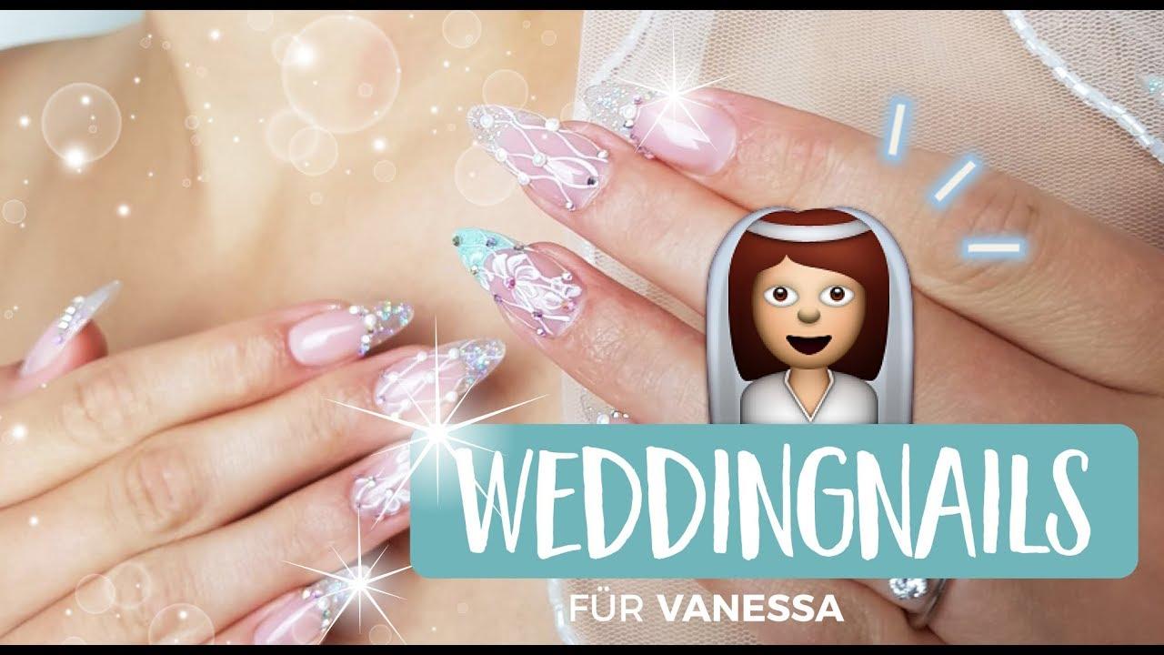 Hochzeitsnagel Fur Vanessa Ausgefallene Brautnagel Mit Gel