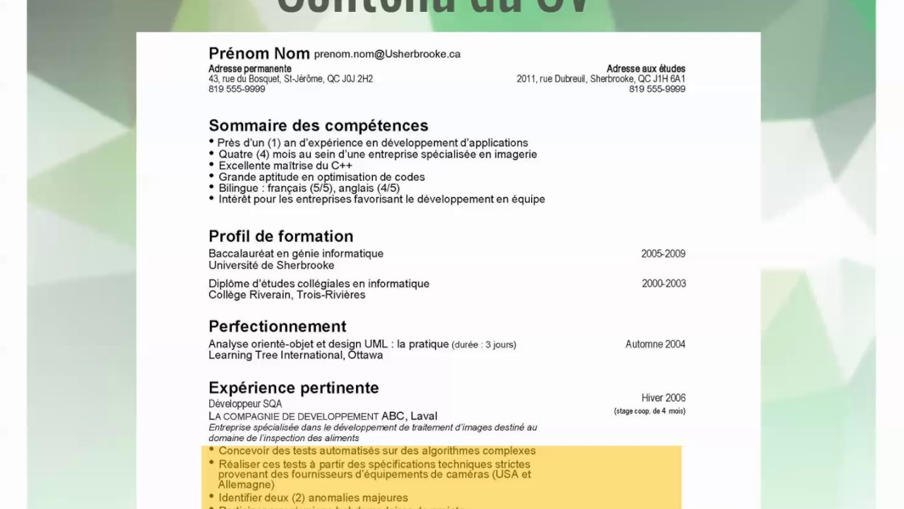comment faire un cv universite de rennes