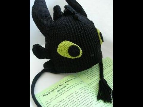 мягкая и теплая вязаная детская шапка дракон беззубик ночная фурия