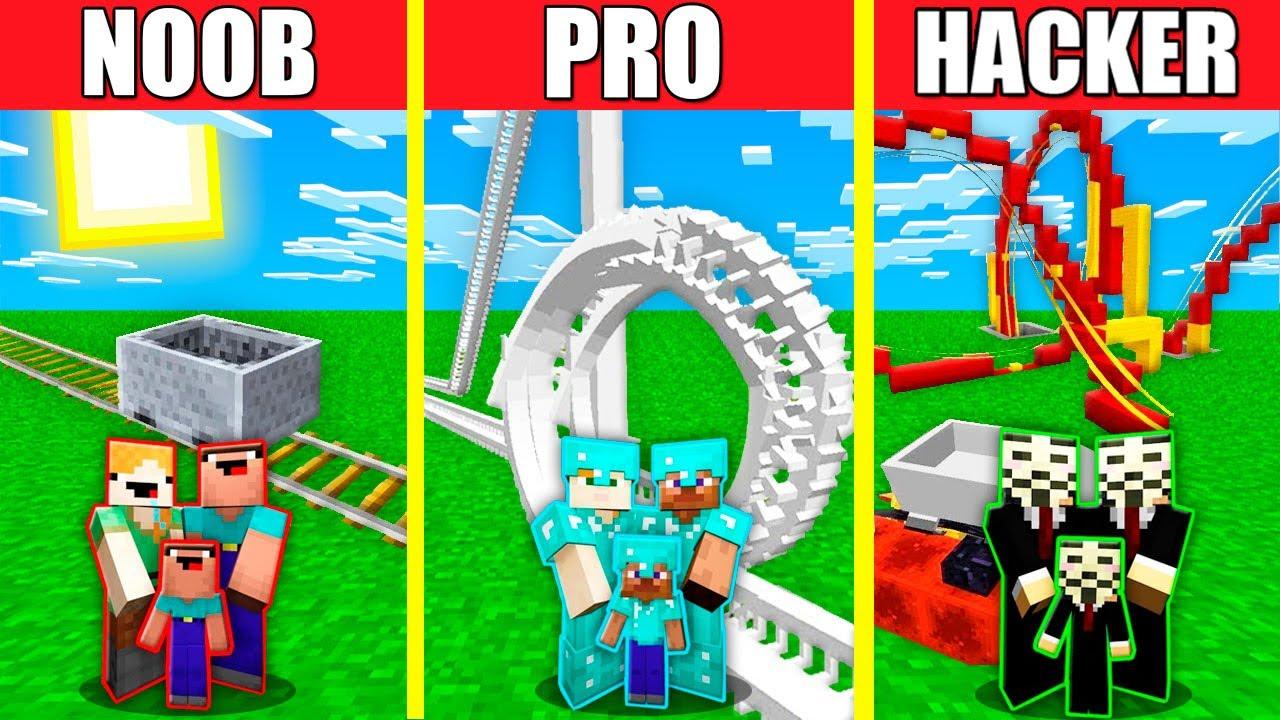 Minecraft Battle: ROLLERCOASTER HOUSE BUILD CHALLENGE - NOOB vs PRO vs HACKER vs GOD / Animation