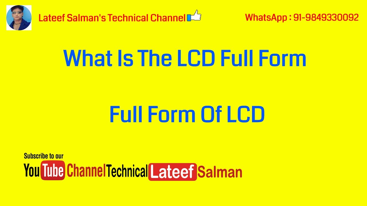 What Is The LCD Full Form / Full Form Of LCD - YouTube