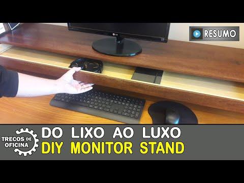 DO LIXO AO LUXO. Suporte para Monitor, com gaveta. Feito com madeira reaproveitada, cola e só.