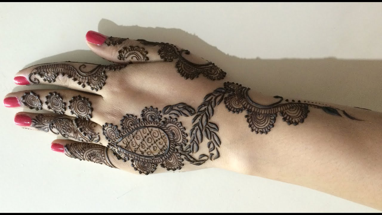 Mehndi Tattoo For Hand : Easy cute girlish mehendi 2016 17 : mehndi tattoo for hand youtube