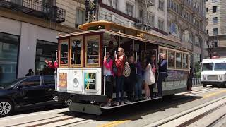 Powell-Hyde Cable Car 7 @ Powell St & Geary St San Francisco California (Slow Motion)