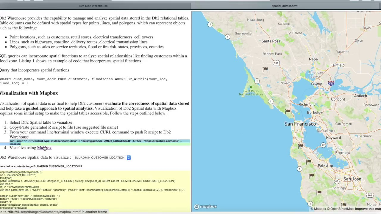 Using mapbox with IBM Db2 Warehouse to visualize spatial data