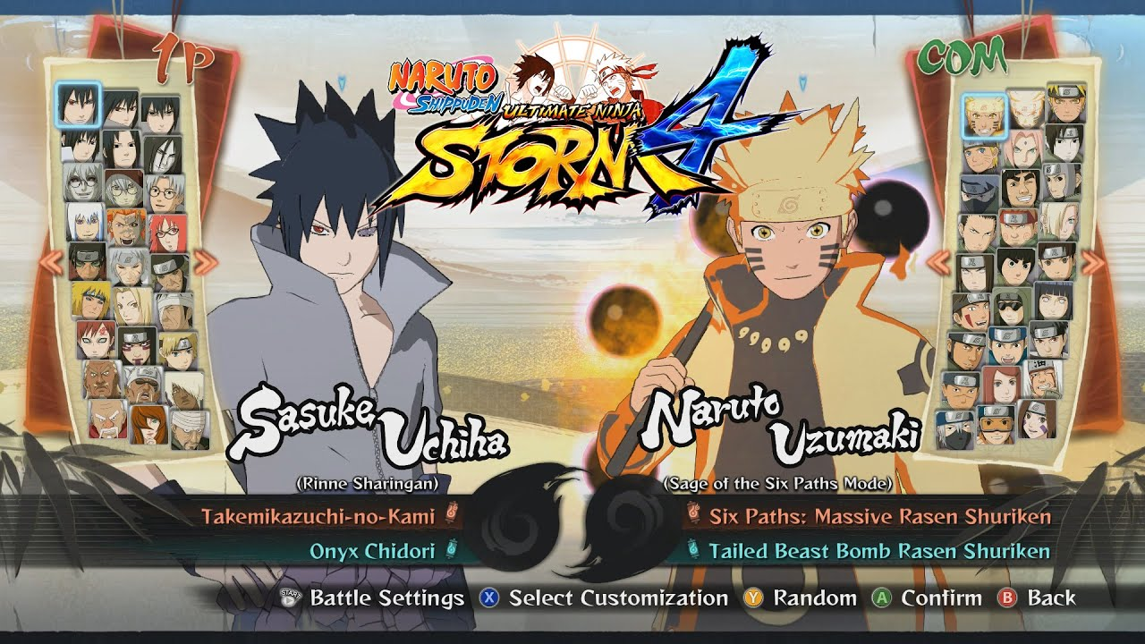 Naruto Shippuden Ultimate Ninja Storm 4 All Characters Costumes Forms Jutsu Stages