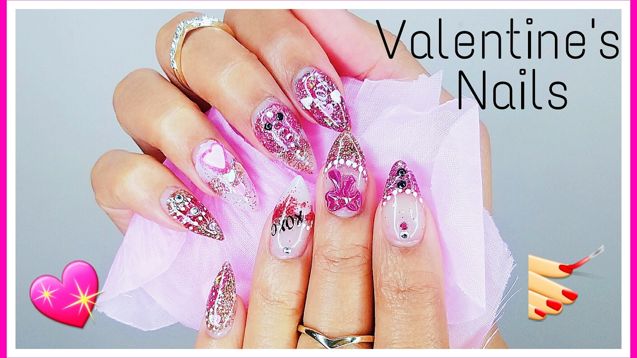 Valentine S Day Nails Glittered Acrylic Nails Tutorial Youtube