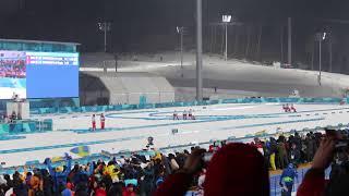 Sweden Wins Gold Medal for Biathlon Olympics 2018 4x7.5 Km Relay | Fredrik Lindstroem finish