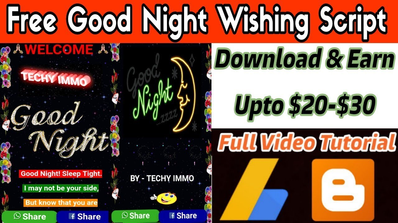 Free Download Good Night Viral Script For Blogger | Techy Immo