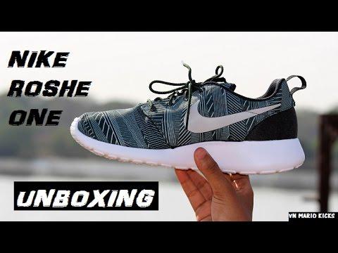Nike Roshe Run One green & black printed (Unboxing)