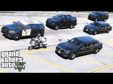 GTA 5 Presidential Mod President Trump Beast Limo & Motorcade Escorted By Secret Service & CHP