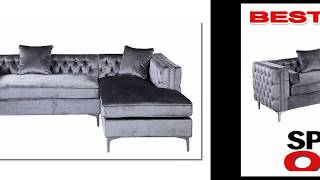 Iconic Home Da Vinci Tufted Silver Trim Grey Velvet Right Facing Sectional Sofa BEST