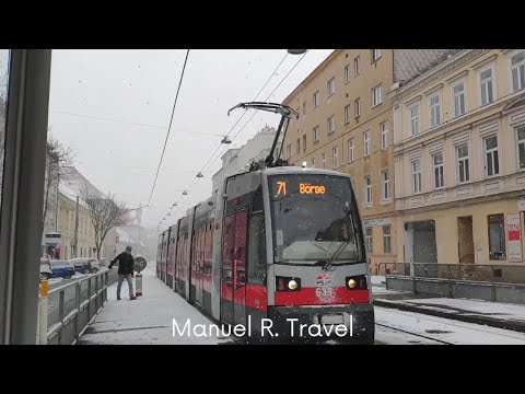 Vienna Tram Ride during Heavy Snow, Line 71 from Oberzellergasse to Parlament, Public Transport ASMR