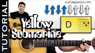 Como tocar YELLOW SUBMARINE The Beatles acordes en guitarra acústica MUY FACIL tutorial