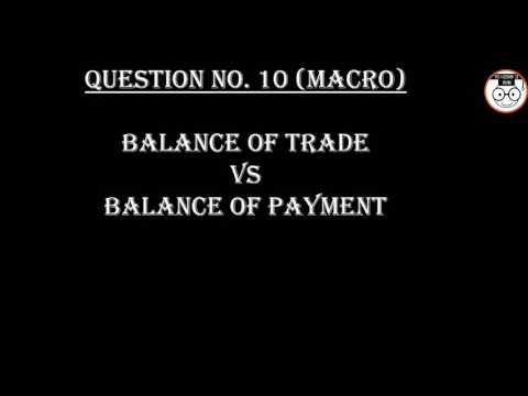 (B.COM/B.A) Q No 10(Macro) Difference between Balance of Trade and Balance of Payment.