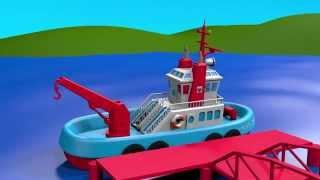 Развивающие мультики для детей от 3 лет  Конструктор  собираем буксир  Мультики про корабли