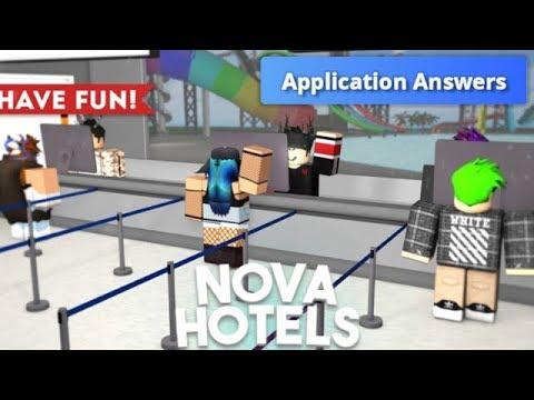 Roblox Nova Hotels Application Answers 2019 Youtube
