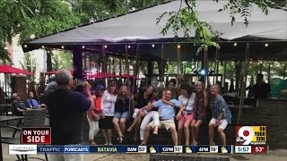 No secret knock required: Treehouse Patio Bar offers swing seats, group drinks