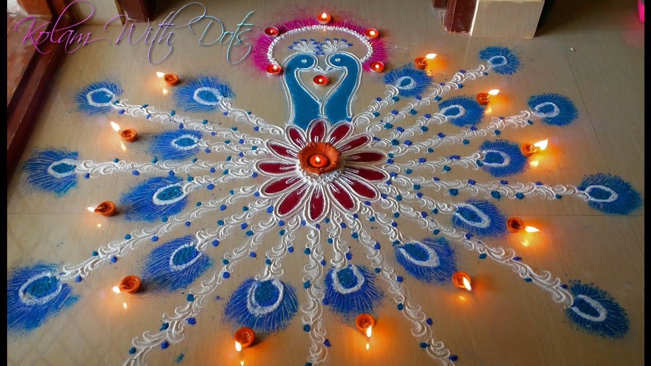 beautiful peacock rangoli designs with colours easy step by step