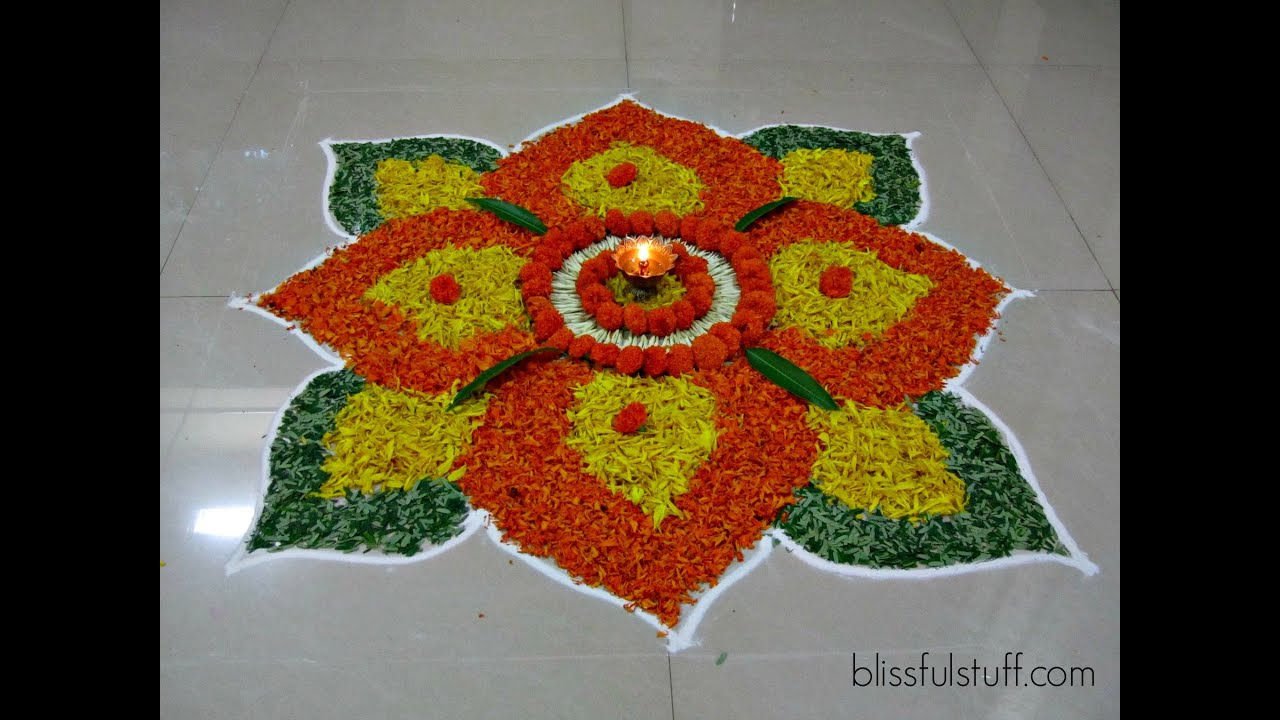 Diwali Special - Rangoli Design with marigold flowers, How ...