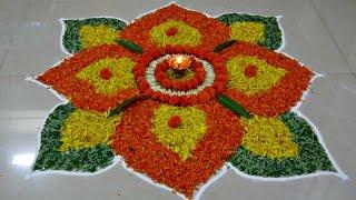 Diwali Special - Rangoli Design with marigold flowers, How to make rangoli with flowers - III