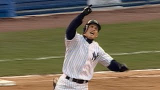 Bubba Crosby homers in first Yankees at-bat