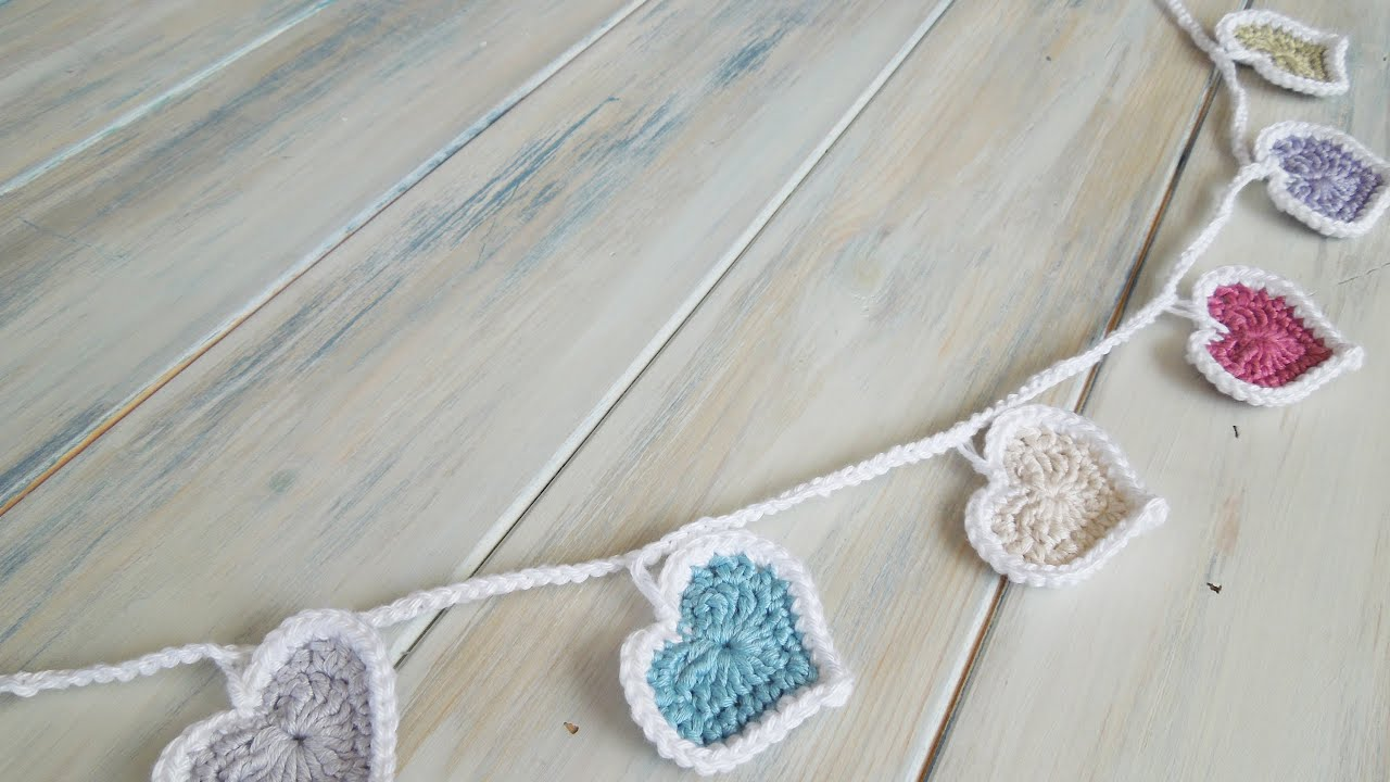 Crochet How To Crochet Heart Bunting Youtube