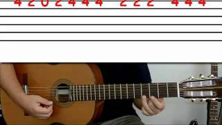 Guitar lesson 2E : Beginner -- 'Mary had a little lamb' on one string