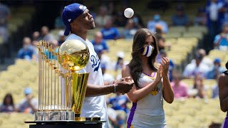 Russell Westbrook throws out first pitch for Lakers Day at Dodger Stadium