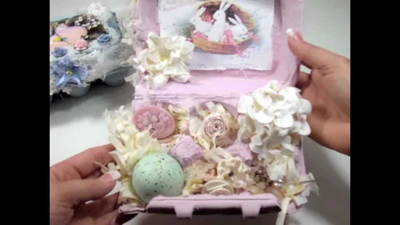 Shabby chic diy project ideassubscribe for weekly design. Shabby Chic Easter Egg Boxes Clip Tutorial Youtube