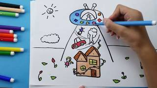 How To Draw and Coloring UFO for Kids. UFO Coloring pages for children