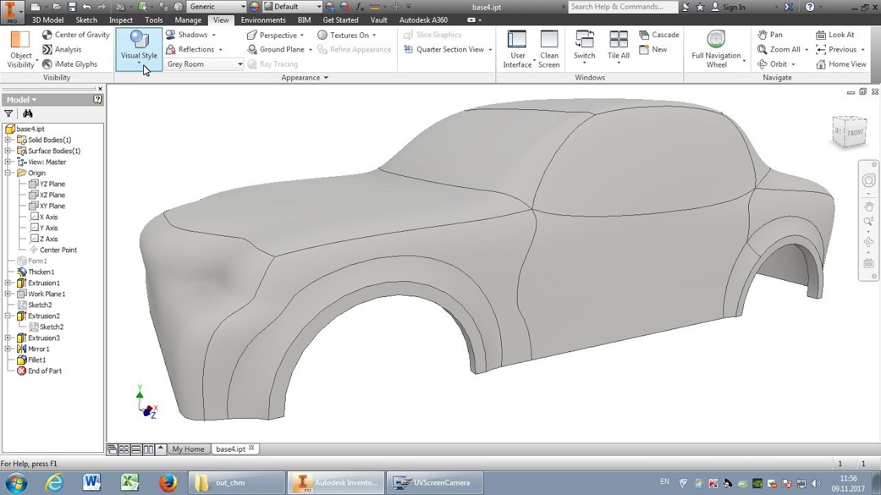 Autodesk Inventor: Car-body (lesson) - YouTube