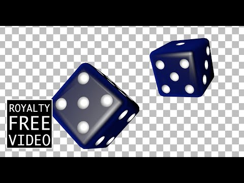 Blue 3D dice falling (transparent) - Royalty Free Video