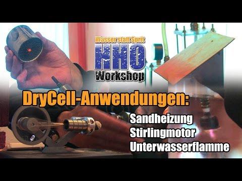 DryCell Anwendungen: Sandheizung, Stirlingmotor, Unterwasserflamme